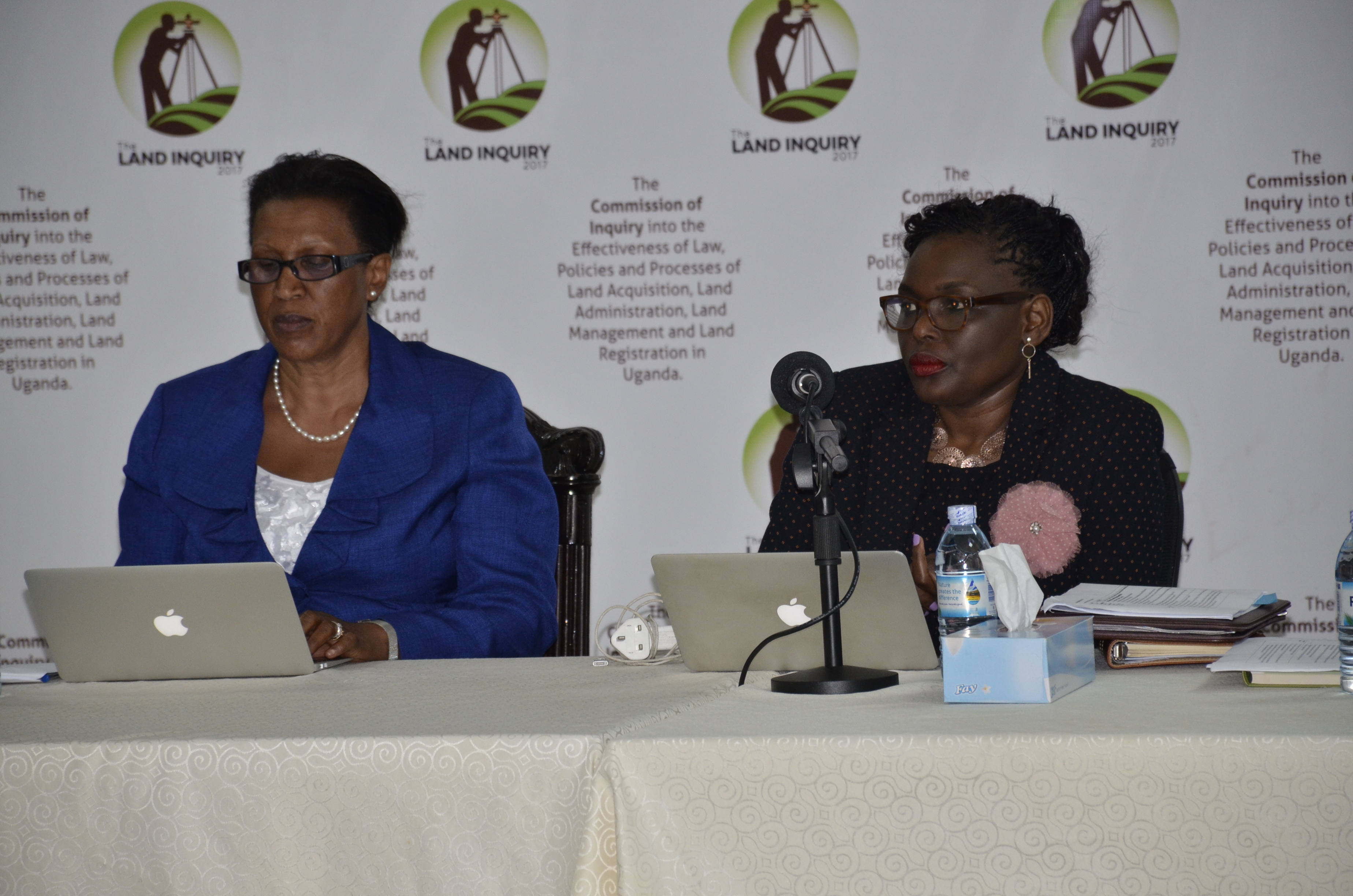 Commission's head Justice Catherine Bamugemereire (right) and fellow Commission Mary Oduka Ochan