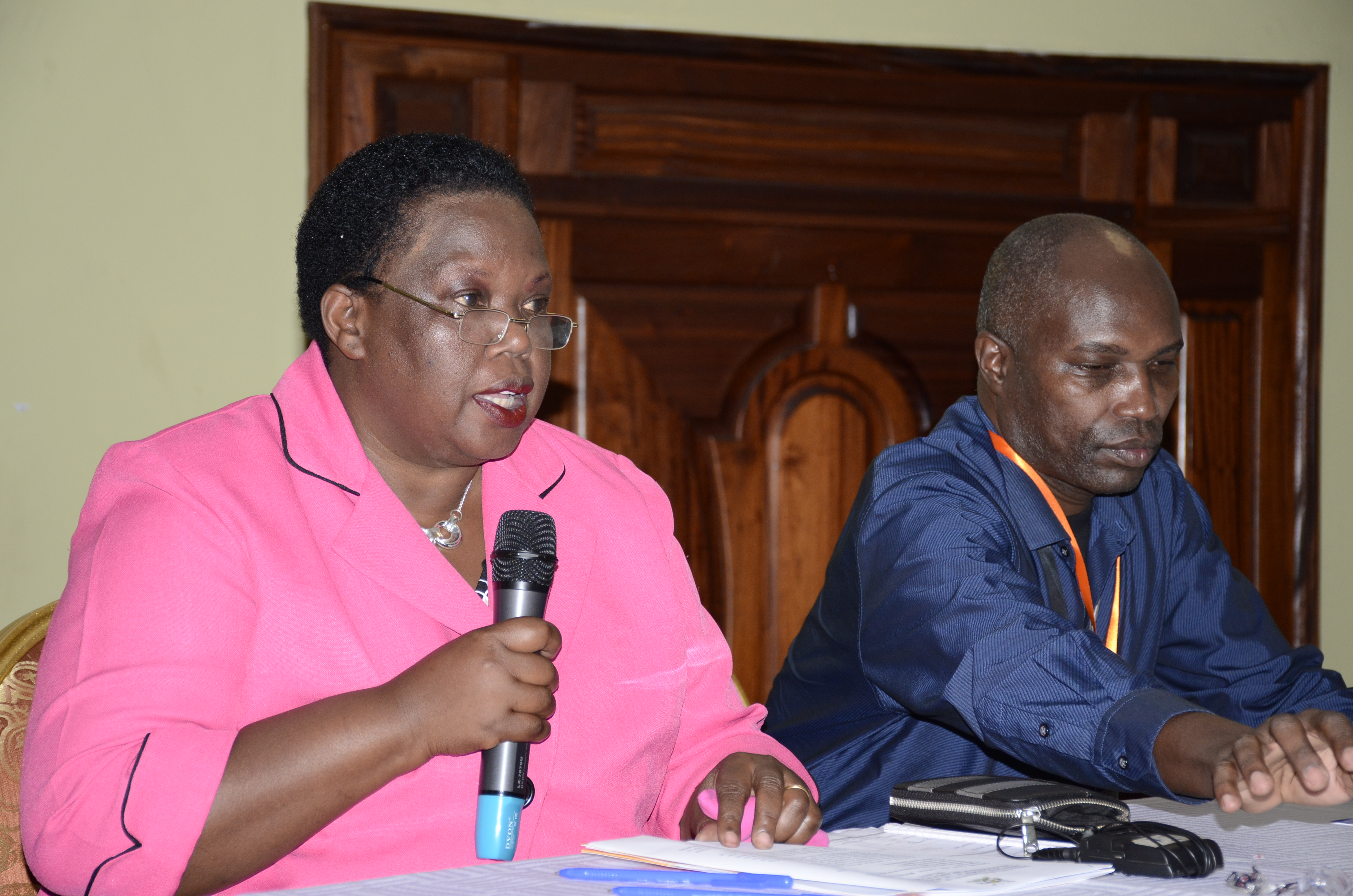 Permanent Secretary Dorcus Okalany making her remark during the second national land information system annual review workshop held at Imperial Royale Hotel recently.