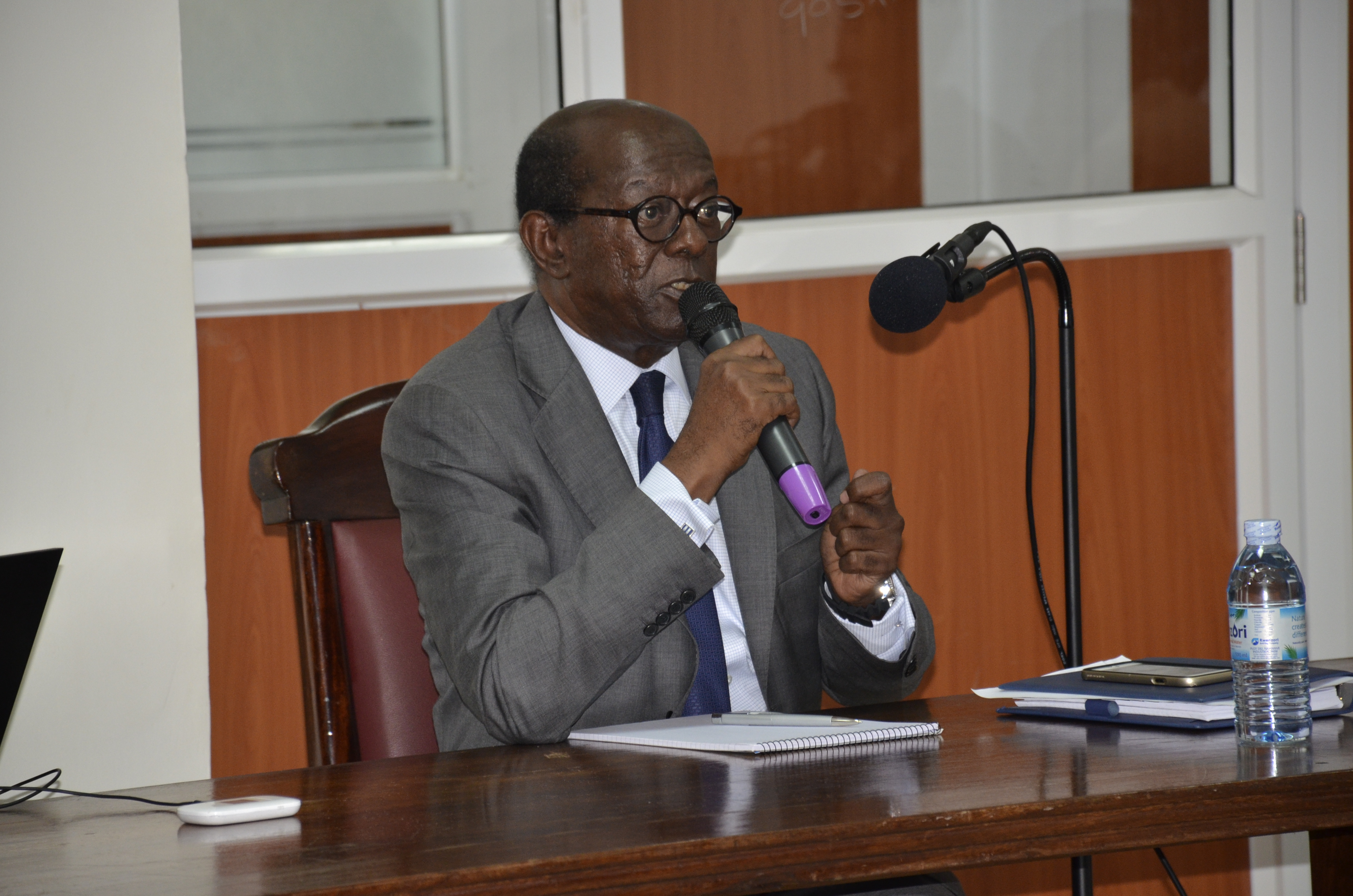 Peter Mulira making his point at the commission