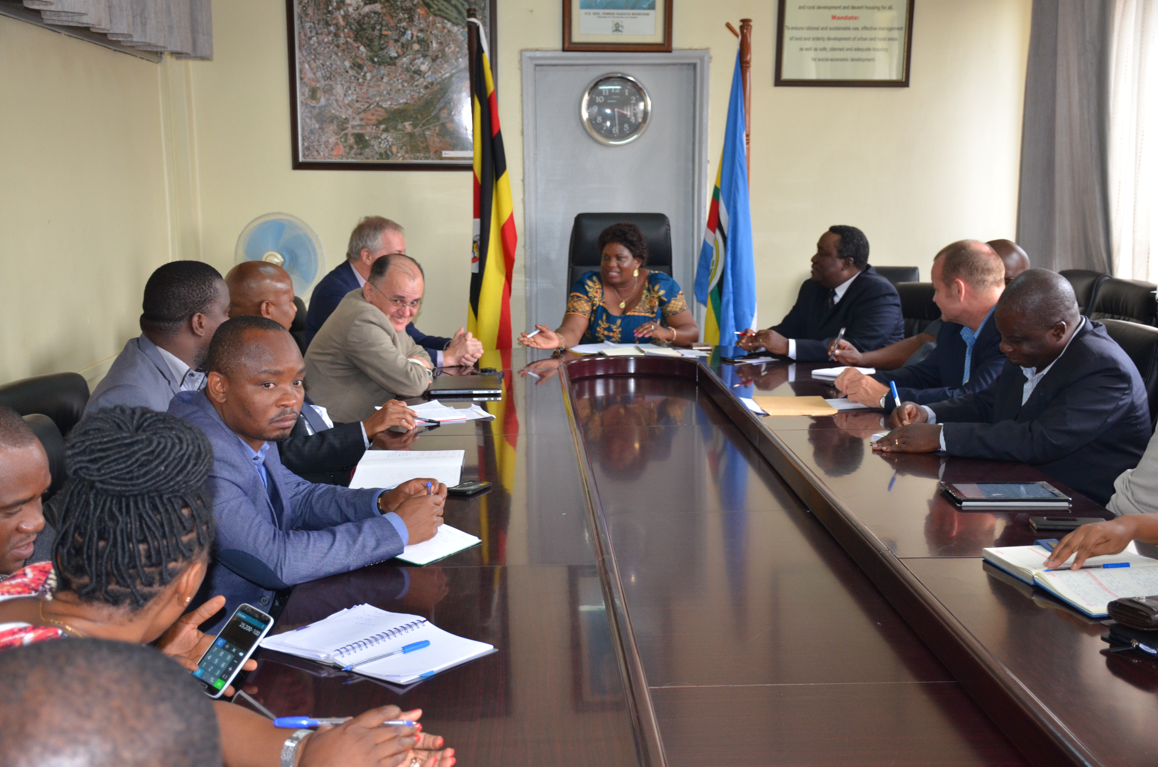 The Previous Minister Betty Amongi meeting with the Tanzanian delegation that was in the country recently to learn from Uganda the Land Information System