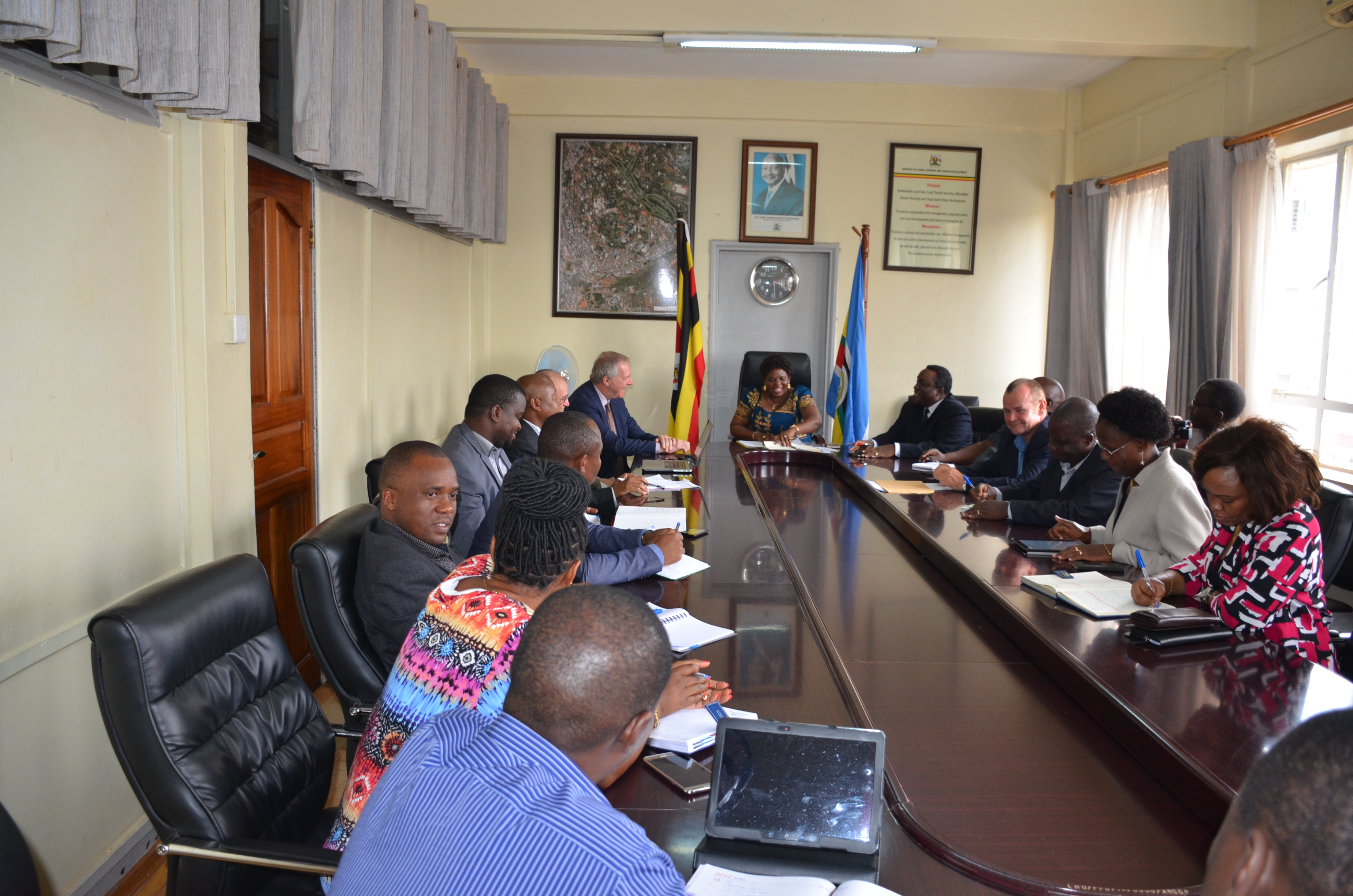 The Senior Minister Honourable Betty Amongi meeting with the Tanzanian delegation