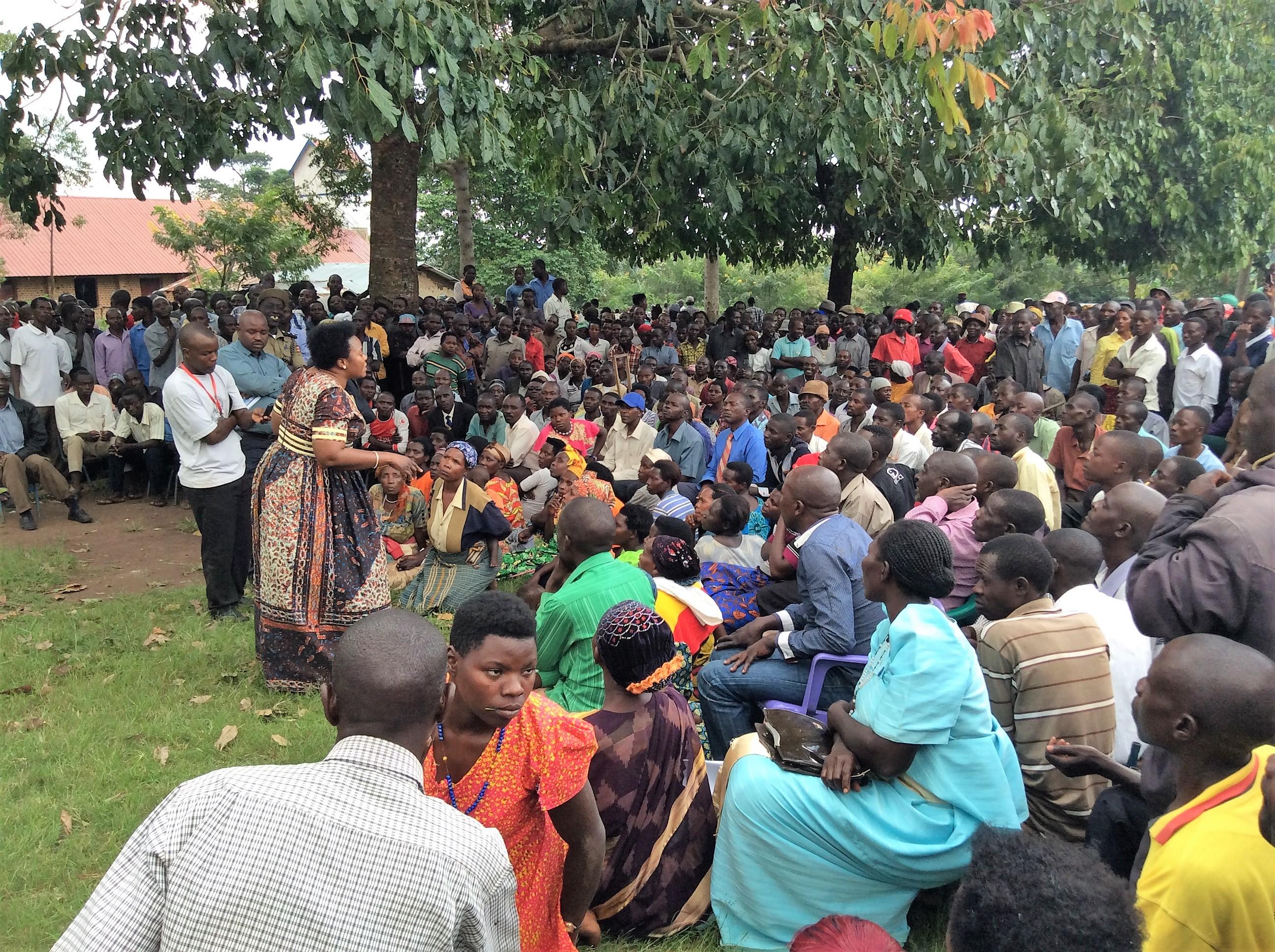 Hon. Persis Namuganza sensitizing residents of Bukinda Kikuube District on Land Ownership
