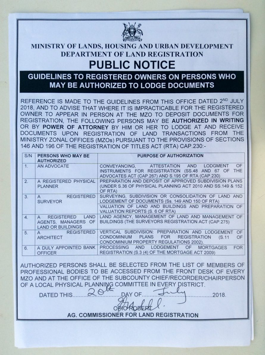 GUIDELINES TO REGISTERED OWNERS ON WHO MAY BE AUTHORIZED TO LODGE DOCUMENTS. CONTD
