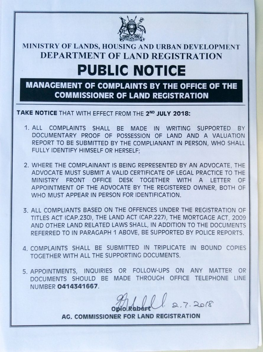 MANAGEMENT OF COMPLAINTS BY OFFICE OF THE COMMISSIONER LAND REGISTRATION
